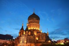 Σκηνή νύχτας του inChina καθεδρικών ναών Αγίου Sophia Στοκ Φωτογραφία