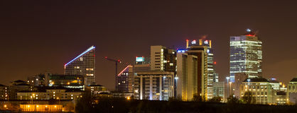 Σκηνή νύχτας Canary Wharf Στοκ Εικόνες
