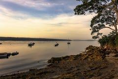 Σκηνή ξημερωμάτων στο λιμάνι νησιών ξαδέλφων στοκ εικόνα με δικαίωμα ελεύθερης χρήσης