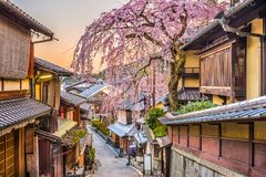 Σκηνή οδών εποχής άνοιξης του Κιότο, Ιαπωνία στοκ φωτογραφία