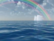 σκηνή ουράνιων τόξων παγόβουνων διανυσματική απεικόνιση
