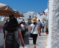 Σκηνή οδών σε Fira Santorini Ελλάδα Στοκ Εικόνες