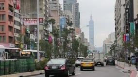 Σκηνή οδών της Ταϊπέι κοντά στην περιοχή εμπορικών συναλλαγών ανατολικών πυλών HD φιλμ μικρού μήκους