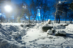 Σκηνή πάρκων χειμερινής νύχτας Στοκ φωτογραφία με δικαίωμα ελεύθερης χρήσης