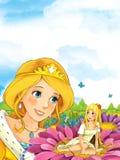 Σκηνή παραμυθιού κινούμενων σχεδίων με μια νέα γυναικεία πριγκήπισσα που στέκεται στο λιβάδι που εξετάζει λίγη συνεδρίαση νεράιδω Στοκ Εικόνες