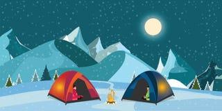 Σκηνή πυρών προσκόπων και τουριστών στο χιονώδες λιβάδι διανυσματική απεικόνιση