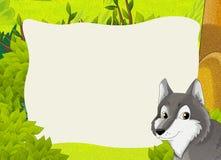 Σκηνή πλαισίων κινούμενων σχεδίων - δάσος - λύκος Στοκ φωτογραφία με δικαίωμα ελεύθερης χρήσης