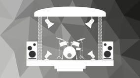 Σκηνή συναυλίας και μουσικός εξοπλισμός που απομονώνονται στο polygonal υπόβαθρο μωσαϊκών διανυσματική απεικόνιση