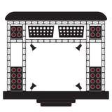 Σκηνή συναυλίας και μουσικός εξοπλισμός Απεικόνιση σε ένα ελαφρύ υπόβαθρο απεικόνιση αποθεμάτων