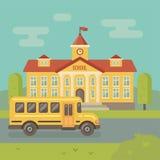 Σκηνή σχολικού κτιρίου και σχολικών λεωφορείων ελεύθερη απεικόνιση δικαιώματος