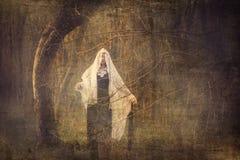 Σκηνή ταινίας τρόμου, κορίτσι Scarry Στοκ εικόνες με δικαίωμα ελεύθερης χρήσης