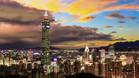 σκηνή Ταιπέι Ταϊβάν νύχτας Στοκ Φωτογραφίες