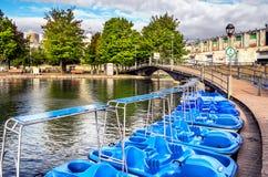 Σκηνή του Μόντρεαλ με τις βάρκες πενταλιών Στοκ Φωτογραφία