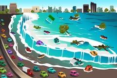 Σκηνή του τσουνάμι διανυσματική απεικόνιση