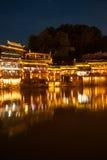 Σκηνή λυκόφατος της αρχαίας πόλης Fenghuang Στοκ φωτογραφία με δικαίωμα ελεύθερης χρήσης