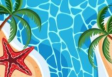 Σκηνή υποβάθρου με τον μπλε ωκεανό και τον αστερία απεικόνιση αποθεμάτων