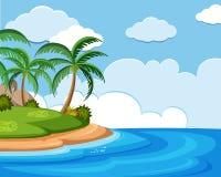 Σκηνή υποβάθρου του ωκεανού στο χρόνο ημέρας ελεύθερη απεικόνιση δικαιώματος
