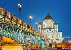 σκηνή λυτρωτών της Ρωσίας νύχτας Χριστού Μόσχα καθεδρικών ναών Στοκ Φωτογραφίες