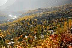 Σκηνή φθινοπώρου της κοιλάδας Hunza στοκ εικόνα
