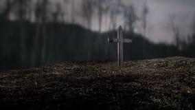 Σκηνή φρίκης της ταφόπετρας απόθεμα βίντεο