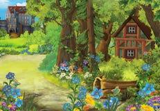 Σκηνή φύσης κινούμενων σχεδίων με το παλαιό σπίτι στο δάσος και το κάστρο τον υπόβαθρο Στοκ εικόνα με δικαίωμα ελεύθερης χρήσης