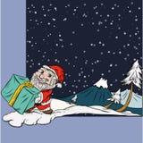 Σκηνή χειμερινού χιονιού, χαρακτήρας Santa διασκέδασης στα Χριστούγεννα Στοκ Εικόνες