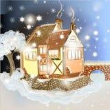 Σκηνή Χριστουγέννων βραδιού με το σπίτι στο χιόνι Στοκ Φωτογραφία