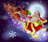Σκηνή Χριστουγέννων ελκήθρων Άγιου Βασίλη Στοκ Εικόνα