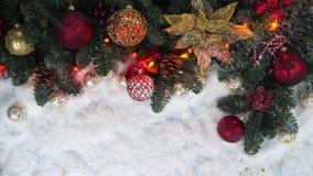 Σκηνή Χριστουγέννων με το χιόνι απόθεμα βίντεο