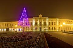 Σκηνή Χριστουγέννων οδών νύχτας Koprivnica Στοκ Εικόνα