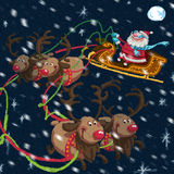 Σκηνή Χριστουγέννων των κινούμενων σχεδίων Άγιος Βασίλης με το έλκηθρο και τάρανδοι Στοκ φωτογραφία με δικαίωμα ελεύθερης χρήσης