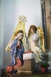 Σκηνή Annunciation σε μια εκκλησία σε Forza δ ` Argrà ³ Στοκ Φωτογραφίες