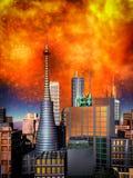 Σκηνή Armageddon στην πόλη ελεύθερη απεικόνιση δικαιώματος