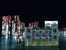 Σκηνή Armageddon στην πόλη απεικόνιση αποθεμάτων