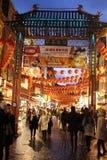Σκηνή Chinatown, Λονδίνο Αγγλία οδών τη νύχτα Στοκ Φωτογραφίες