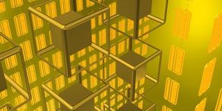 Σκηνή Futurist με τους κύβους τεχνολογίας πέρα από το χρυσό υπόβαθρο Στοκ Εικόνες