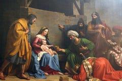 Σκηνή Nativity, λατρεία των μάγων Στοκ Φωτογραφία