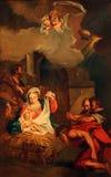 Σκηνή Nativity, λατρεία των ποιμένων Στοκ Φωτογραφίες