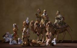 Σκηνή Nativity με την αντίκα που φαίνεται σκηνικό στοκ φωτογραφίες