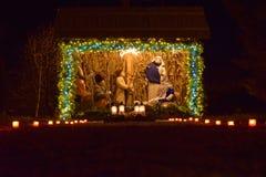 Σκηνή Nativity με το παχνί Χριστουγέννων, Ιησούς, Joseph, Μαρία για τα Χριστούγεννα Στοκ φωτογραφία με δικαίωμα ελεύθερης χρήσης