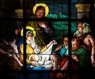 Σκηνή Nativity στα Χριστούγεννα - λεκιασμένο γυαλί Στοκ Φωτογραφία