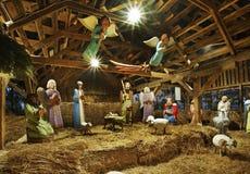 Σκηνή Nativity στο μικρό τετράγωνο αγοράς στο Τορούν Πολωνία Στοκ φωτογραφίες με δικαίωμα ελεύθερης χρήσης