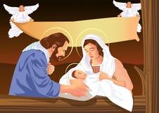 Σκηνή nativity του Christian Χριστουγέννων με το μωρό Ιησούς και τους αγγέλους ελεύθερη απεικόνιση δικαιώματος