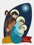 Σκηνή Nativity Χριστουγέννων με την ιερή οικογένεια κάτω από την ελαφριά, διανυσματική απεικόνιση αστεριών Στοκ Εικόνες