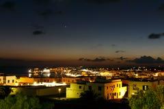 σκηνή playa νύχτας BLANCA Lanzarote Στοκ εικόνες με δικαίωμα ελεύθερης χρήσης