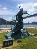Σκηνή Shi Shinmonoseki, Ιαπωνία άγαλμα minamoto yoshitsune Στοκ φωτογραφίες με δικαίωμα ελεύθερης χρήσης