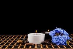 Σκηνή SPA - aromatherapy κερί και λουλούδι σε ένα μαύρο backgroun Στοκ Εικόνες