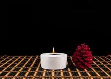 Σκηνή SPA - aromatherapy κερί και λουλούδι Στοκ Εικόνα