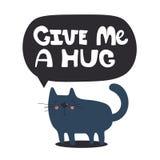 Σκηνικό με την ευτυχή γάτα και το αγγλικό κείμενο ελεύθερη απεικόνιση δικαιώματος