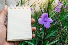 Σκηνικό λουλουδιών της Λευκής Βίβλου που χρησιμοποιείται για τη λήψη σημειώσεων Στοκ Φωτογραφίες